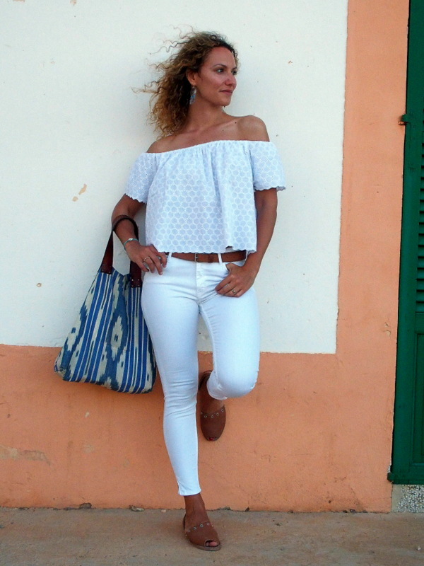 jean blanc crop top total look blanc ootd summer 2015 blog mode Toulouse