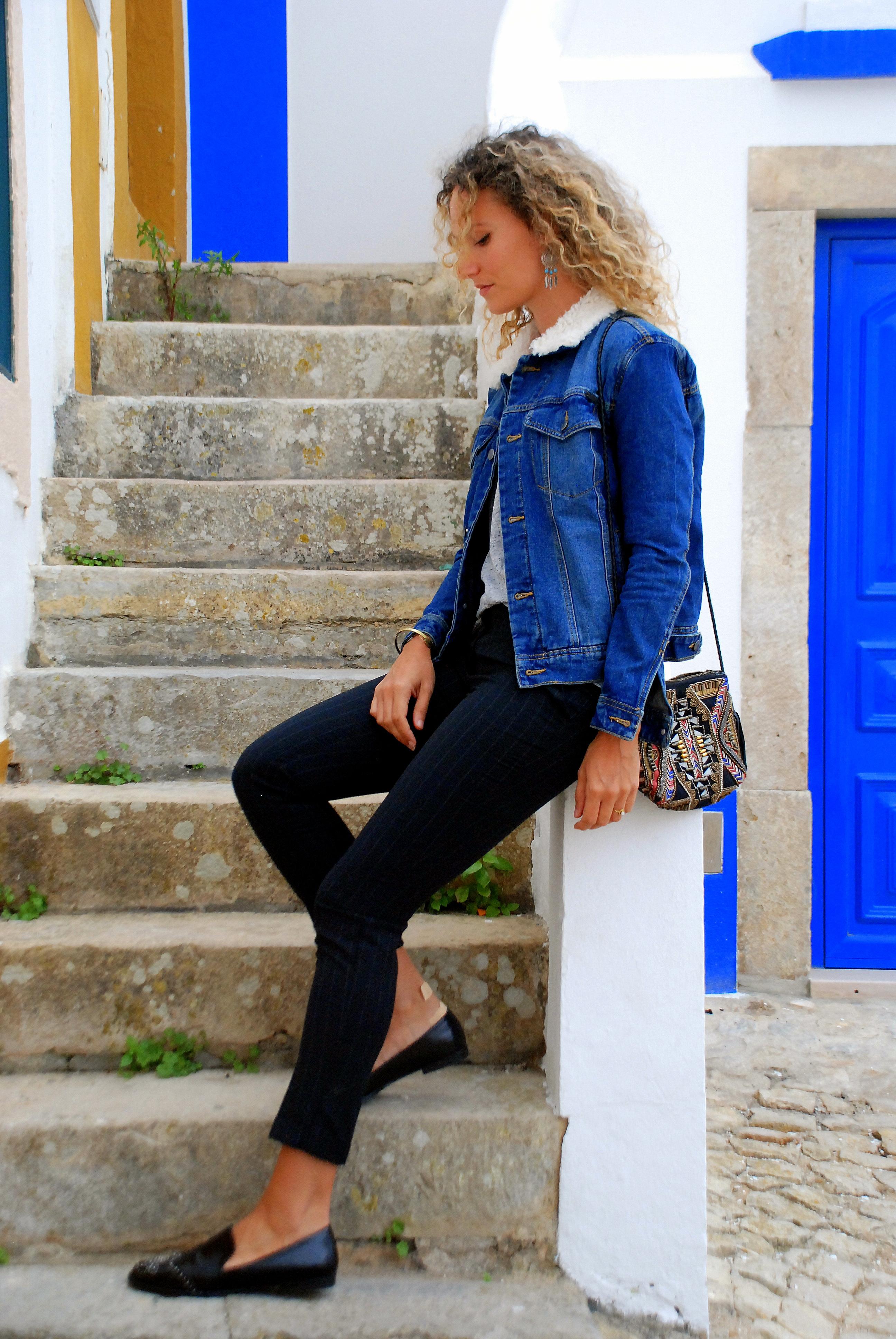 Look boyish denim jacket mocassins casual outfit blogger blog mode toulouse rock my casbah