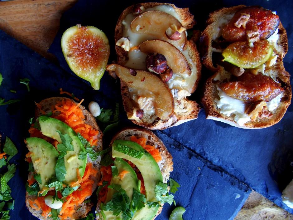 tartine banh mi tartine chèvre figue tartine poire gorgonzola noix recette apéro blog culinaire