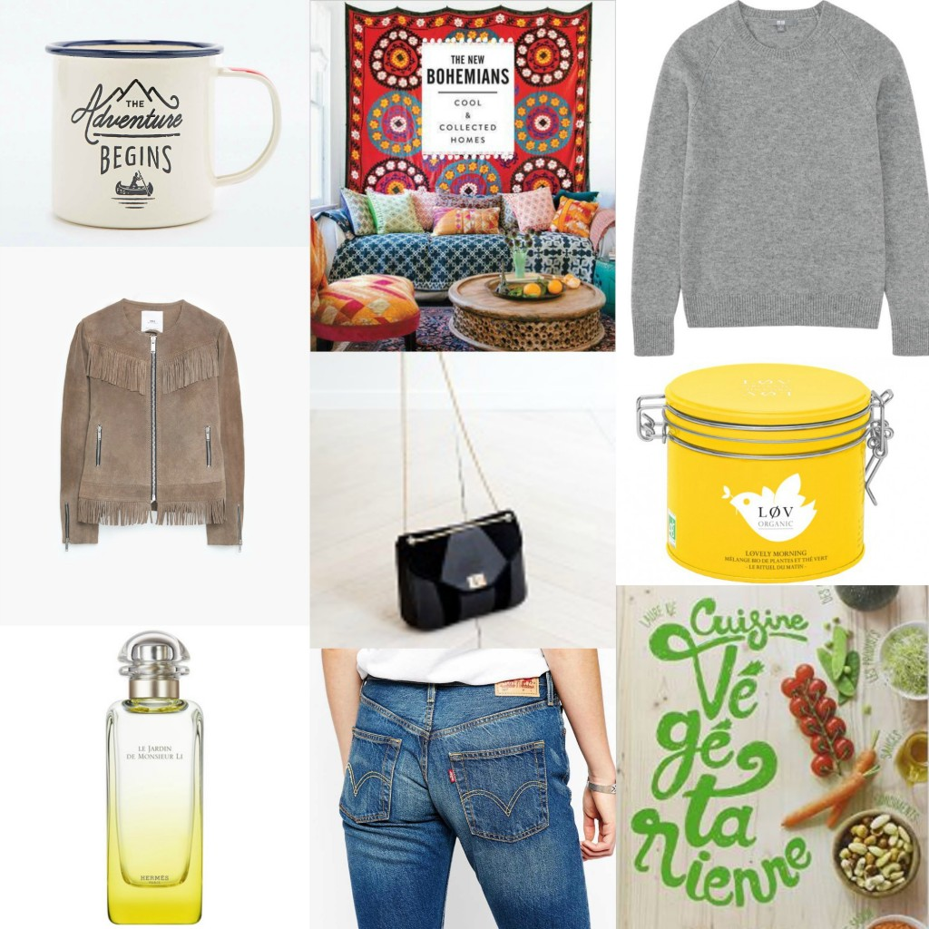wishlist sac sezane urban outfitters the new bohemians levi's 501 suede jacket pull uniqlo livre cuisine végétarienne thé love organic blog mode lifestyle toulouse