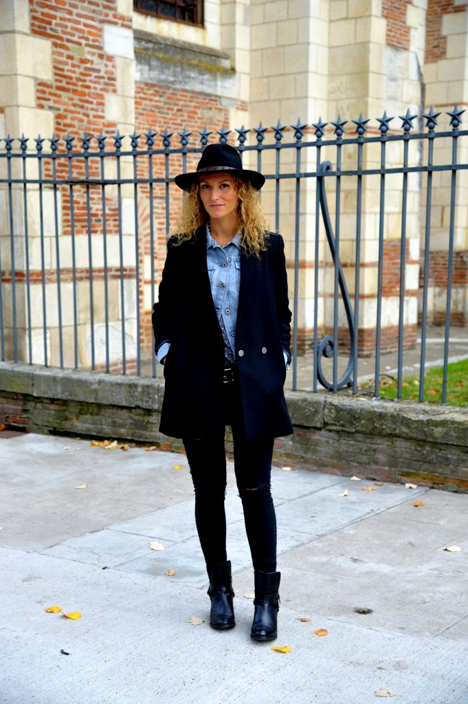chaussures Ted & Muffy shoes look rock 70' outfit blog mode toulouse tenue hiver 2015 chapeau caban mango