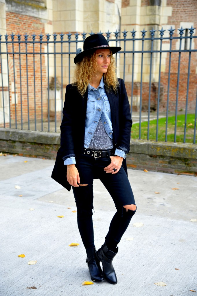 black & denim outfit