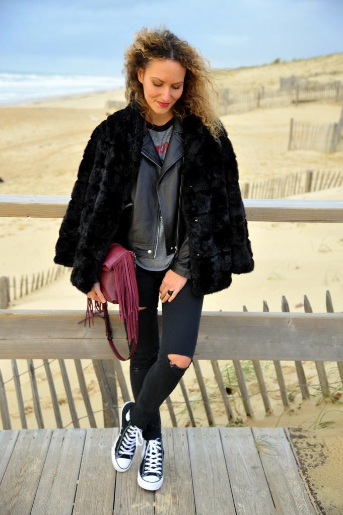 the ramones t-shirt look rock veste en cuir manteau fourrure converse winter outfit sac franges blogueuse mode toulouse fashion blogger