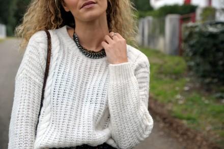 pull blanc white knit