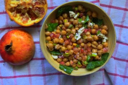 salade de pois chiches-grenade, food, healthy, recette végétarienne, rock my casbah