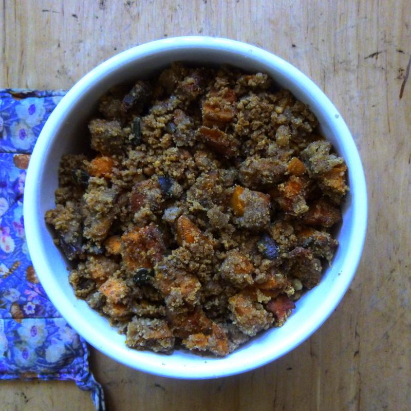 crumble de patates douces, recette végétarienne, crumble salé, rock my casbah