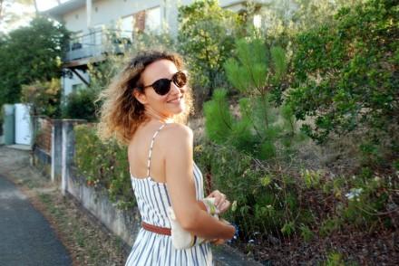 robe rayée robe rayures sabots à talons son noguera look d'été summer outfit blog mode Toulouse