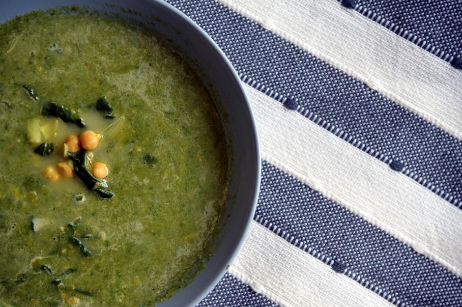 soupe pois chiches épinards
