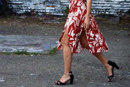 jupe à fleurs rouge